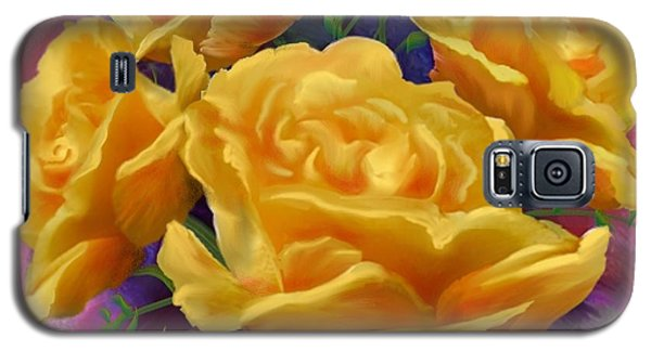 Galaxy S5 Case featuring the painting Yellow Roses Floral Art by Judy Filarecki