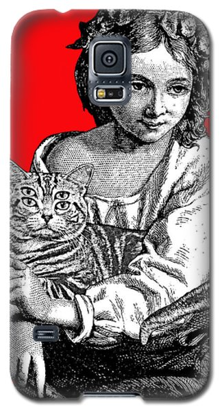 Young Girl With Cat Galaxy S5 Case