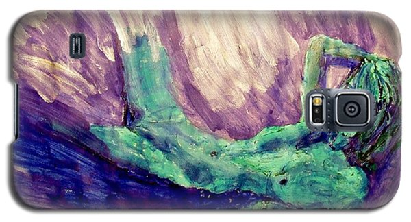 Galaxy S5 Case featuring the painting Young Statue Of Liberty Falling From Grace Female Figure Portrait Painting In Green Purple Blue by MendyZ M Zimmerman