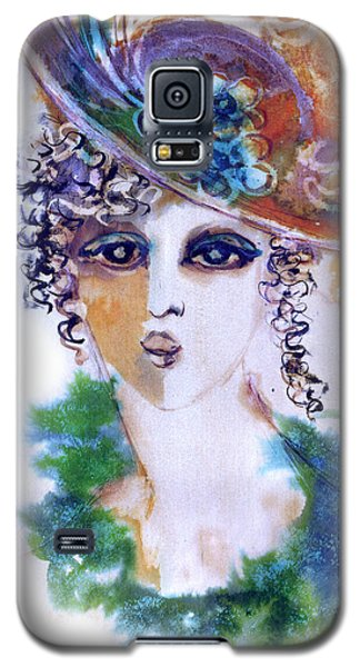 Young Woman Face With Curls In Blue Green Dress Purple Hat With Flower  Galaxy S5 Case