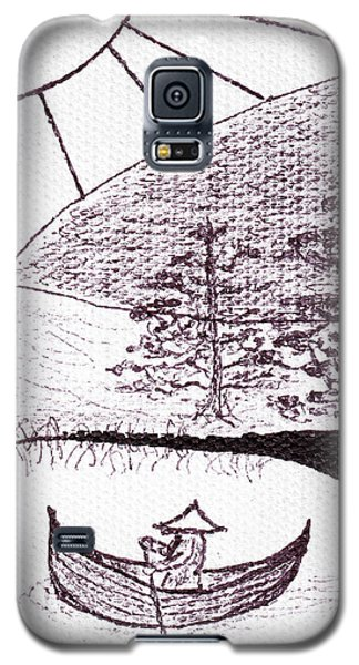 Zen Sumi Asian Lake Fisherman Black Ink On White Canvas Galaxy S5 Case