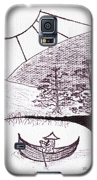 Zen Sumi Asian Lake Fisherman Black Ink On White Canvas Galaxy S5 Case