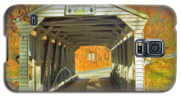 Galaxy S5 Case featuring the photograph  Covered Bridge Watercolor  by David Zanzinger