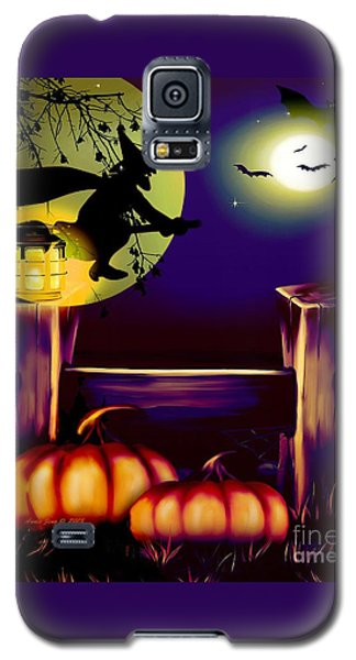 Halloween Witches Moon Bats And Pumpkins Galaxy S5 Case by Annie Zeno