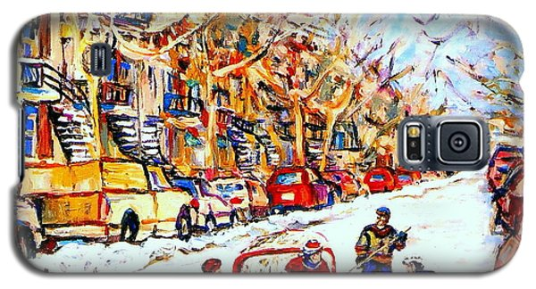 Hockey Game On Colonial Street  Near Roy Montreal City Scene Galaxy S5 Case