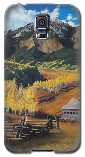 Galaxy S5 Case featuring the painting  I Will Lift Up My Eyes To The Hills Autumn Nostalgia  Wilson Peak Colorado by Anastasia Savage Ealy