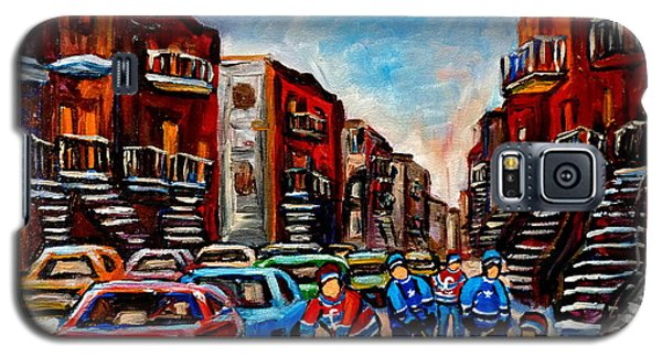 Galaxy S5 Case featuring the painting  Late Afternoon Street Hockey by Carole Spandau