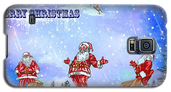 Galaxy S5 Case featuring the painting  Merry Christmas To My Friends In The Faa by Andrzej Szczerski