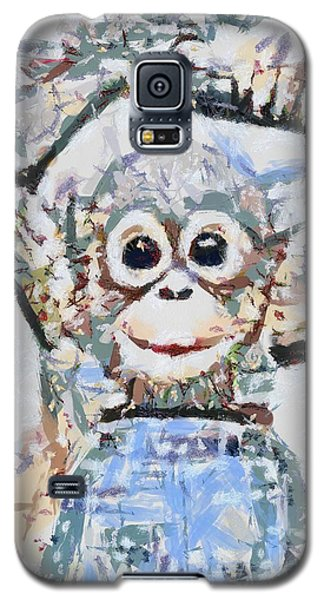 Galaxy S5 Case featuring the digital art  Monkey Rainbow Splattered Fragmented Blue by Catherine Lott