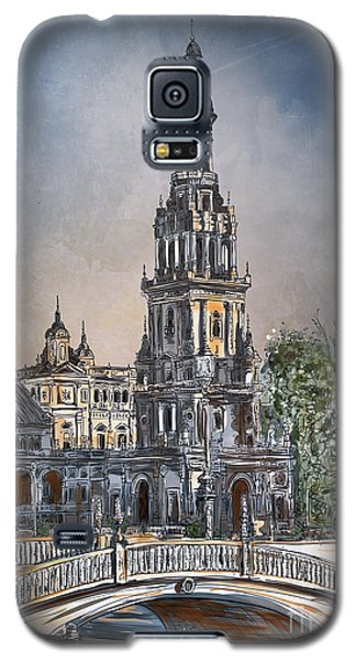 Galaxy S5 Case featuring the painting  Plaza De Espana In Seville by Andrzej Szczerski