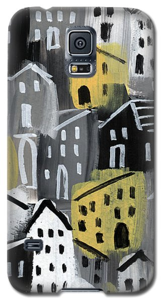 Town Galaxy S5 Case -  Rainy Day - Expressionist Art by Linda Woods
