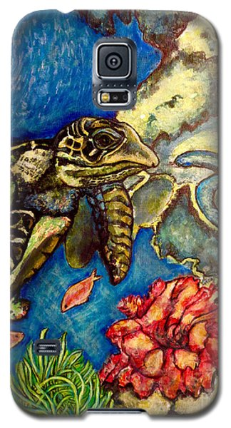Galaxy S5 Case featuring the painting  Sweet Mystery Of The Sea A Hawksbill Sea Turtle Coasting In The Coral Reefs Original by Kimberlee Baxter