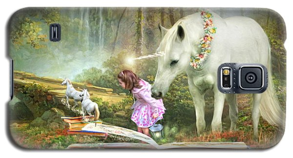 Galaxy S5 Case featuring the digital art  The Unicorn Book Of Magic by Trudi Simmonds