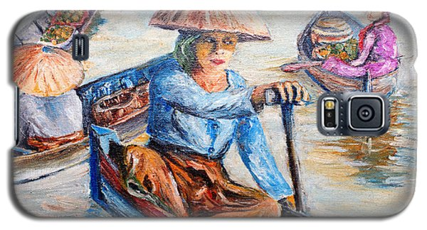 Galaxy S5 Case featuring the painting  Women On Jukung by Jason Sentuf