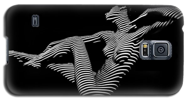 0043-dja Bw Zebra Woman Striped Girl Topographic Abstract Sensual Body Art Galaxy S5 Case