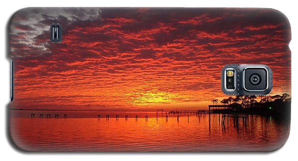 0205 Awesome Sunset Colors On Santa Rosa Sound Galaxy S5 Case by Jeff at JSJ Photography