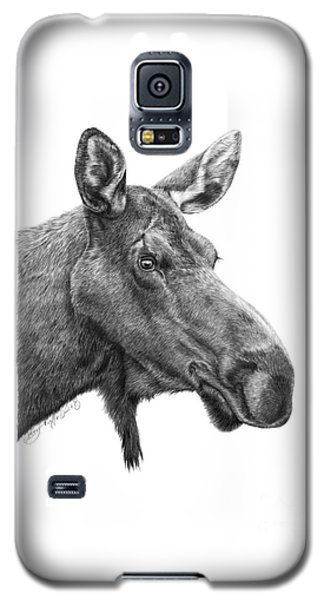 Galaxy S5 Case featuring the drawing 048 - Shelly The Moose by Abbey Noelle