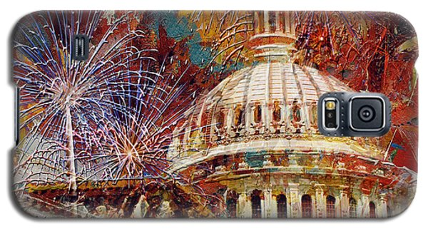 070 United States Capitol Building - Us Independence Day Celebration Fireworks Galaxy S5 Case by Maryam Mughal