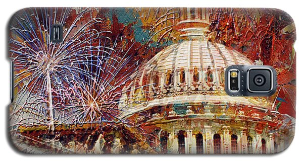 Capitol Building Galaxy S5 Case - 070 United States Capitol Building - Us Independence Day Celebration Fireworks by Maryam Mughal