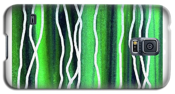 Abstract Lines On Green Galaxy S5 Case