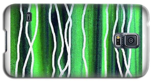 House Galaxy S5 Case - Abstract Lines On Green by Irina Sztukowski