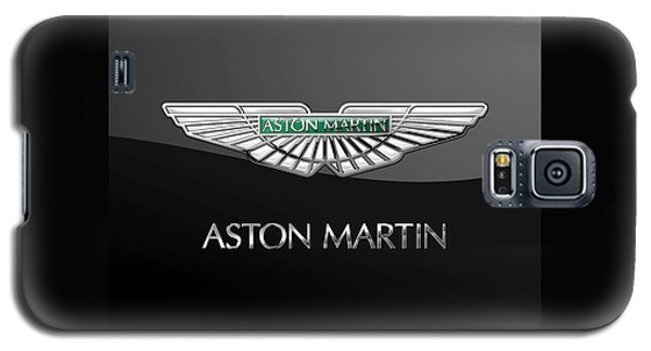 Aston Martin 3 D Badge On Black  Galaxy S5 Case by Serge Averbukh