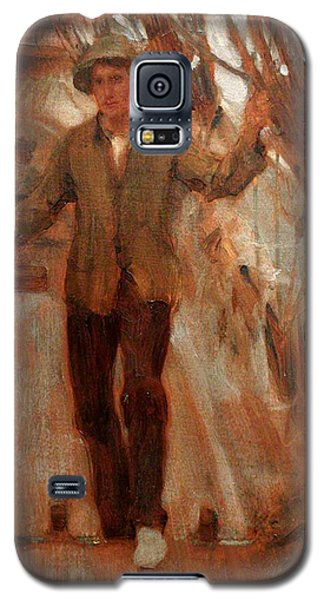 Galaxy S5 Case featuring the painting At The Break Of The Poop  by Henry Scott Tuke
