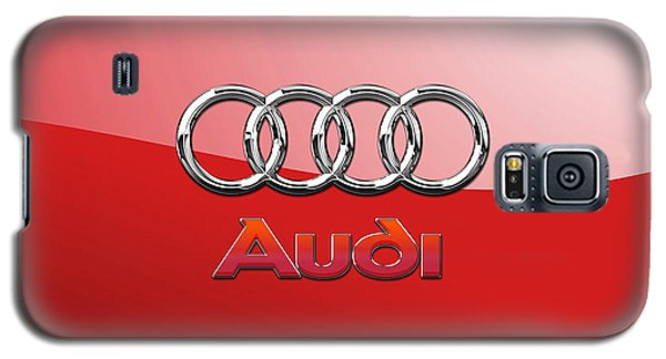 Audi - 3d Badge On Red Galaxy S5 Case by Serge Averbukh