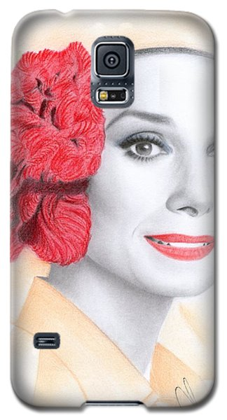 Galaxy S5 Case featuring the drawing Audrey Hepburn by Eliza Lo