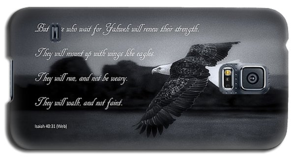 Galaxy S5 Case featuring the photograph Bald Eagle In Flight With Bible Verse by John A Rodriguez