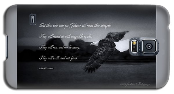 Bald Eagle In Flight With Bible Verse Galaxy S5 Case by John A Rodriguez