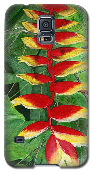 Galaxy S5 Case featuring the painting Balinese Heliconia Rostrata by Melly Terpening