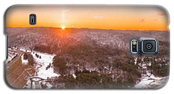 Galaxy S5 Case featuring the photograph Barkhamsted Reservoir And Saville Dam In Connecticut, Sunrise Panorama by Petr Hejl