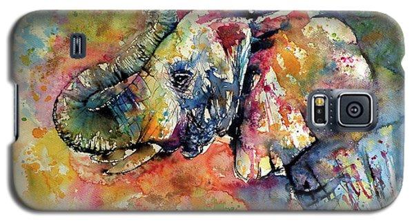 Animal Galaxy S5 Case - Big Colorful Elephant by Kovacs Anna Brigitta