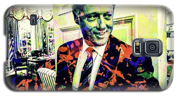 Galaxy S5 Case featuring the mixed media Bill Clinton by Svelby Art