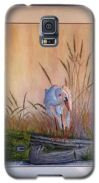 Blue Heron On A Log  Galaxy S5 Case