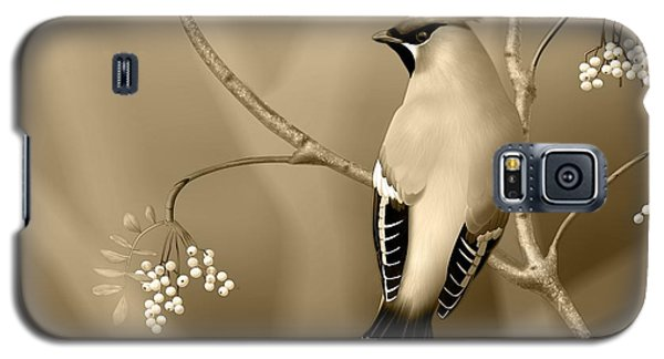 Galaxy S5 Case featuring the digital art Bohemian Waxwing In Sepia by John Wills