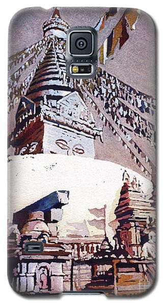 Galaxy S5 Case featuring the painting Buddhist Stupa- Nepal by Ryan Fox