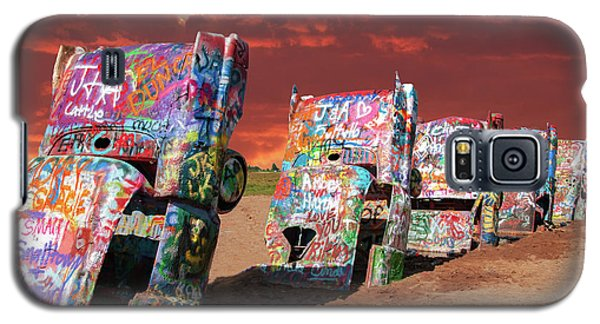 Galaxy S5 Case featuring the photograph Cadillac Ranch by Carolyn Dalessandro