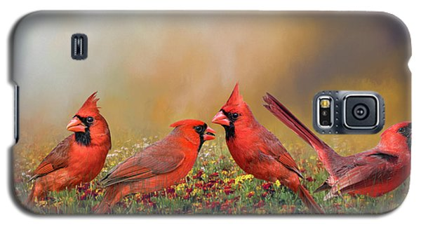 Galaxy S5 Case featuring the photograph Cardinal Quartet by Bonnie Barry