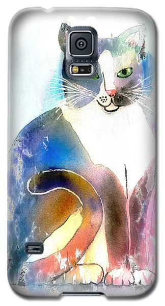 Galaxy S5 Case featuring the mixed media Cat Of Many Colors by Arline Wagner