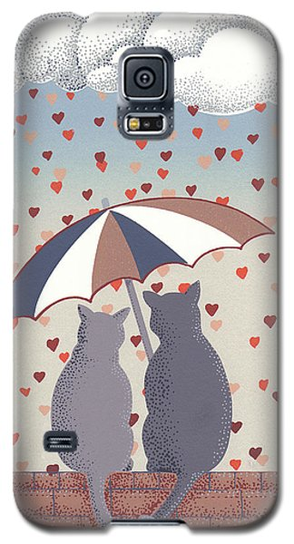 Galaxy S5 Case featuring the mixed media Cats In Love by Anne Gifford