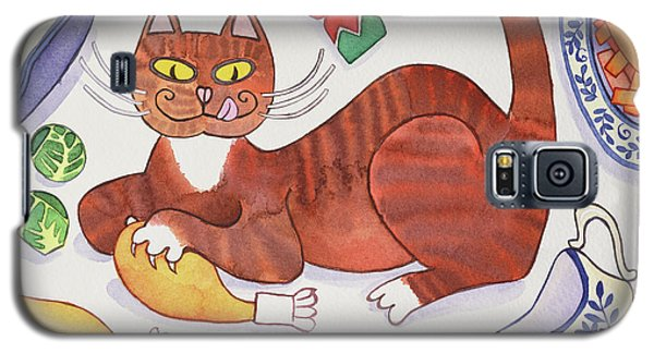 Christmas Cat And The Turkey Galaxy S5 Case