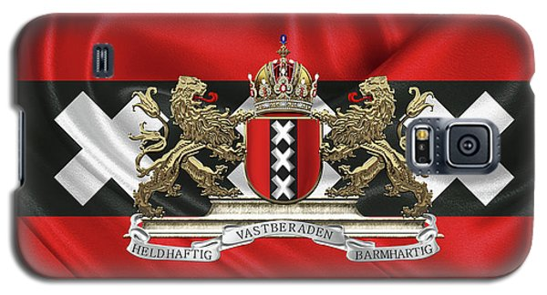 Patriotic Galaxy S5 Case - Coat Of Arms Of Amsterdam Over Flag Of Amsterdam by Serge Averbukh