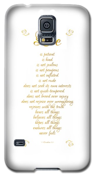 1 Corinthians 13 Love Is White Background Galaxy S5 Case