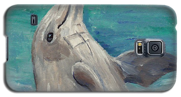 Galaxy S5 Case featuring the painting Dolphin Aceo by Brenda Thour