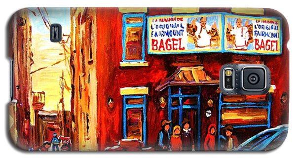 Galaxy S5 Case featuring the painting Fairmount Bagel In Winter by Carole Spandau