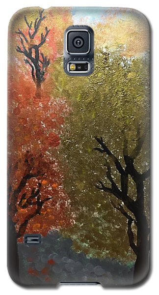 Galaxy S5 Case featuring the painting Fall Trees by Paula Brown
