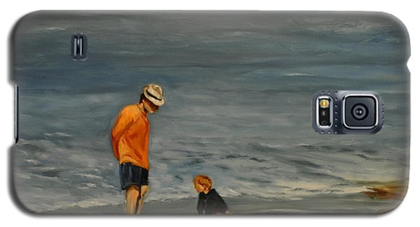 Galaxy S5 Case featuring the painting Family On Beach by Lindsay Frost