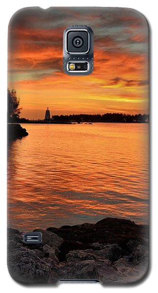 Galaxy S5 Case featuring the photograph Fiery Sunset Reflections by Stephen  Vecchiotti
